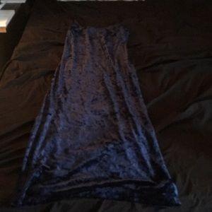Blue velvet spaghetti strap dress